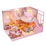 Minyatür DIY Doll Mobilyalı Ev Ahşap Ev Oyuncakları Çocuk Doğum Günü Hediyesi İçin