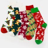 Unisex Pamuk Kişilik Şenlikli Noel Ağacı Kar Tanesi Desen Çift Çorap Tüp Çorap