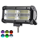 144W 7 Inch RGB LED Work Light Bar Driving Fog Lamp 10-32V For 4WD SUV Truck UTE Offroad ATV