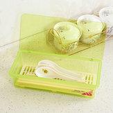 Vajilla de cocina plástica multifuncional Palillos Cuchara Tenedor Almacenamiento Caja Con cubierta de gota de agua