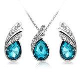 Ensemble de bijoux Collier boucles d'oreilles en cristal en forme de goutte d'eau Cadeau plaqué argent pour femme
