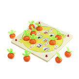 木製プルアウトニンジンメモリチェスパズルインテリジェンス親子相互作用ボードゲームのおもちゃ