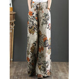 Cotton Women Palnt Floral Print Pocket Drawstring Elastic Waist Retro Wide Leg Pants