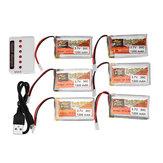 6PCS ZOP POWER 3.7V 1200mAh 30C 1S Lipo Batería Enchufe blanco con 6 en 1 Batería Cargador