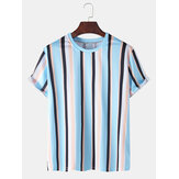 Mens Colorful Vertical Stripes Holiday Casual Short Sleeve T-Shirts