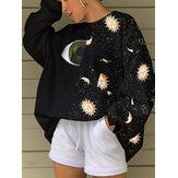 Женщины Starry Sky & Eye Graphics Patchwork Black Pullover Loose Sweatshirts