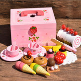 Holzküche Pretend Play Toy Puppe Hauszubehör Sweet Princes Ice Cream Cooking Puzzle