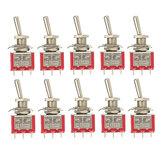 10pcs लाल टॉगल स्विच डीपीडीटी ऑन-ऑफ-ऑन 6 पिन 3 स्थिति 5 ए 120Vac / 2A 250Vac