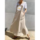 Small Daisies Print Adjustable Strap Casual Loose A-line Maxi Dress with Pockets