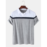 Herren Colorblock Casual Sport Kurzarm Golf Shirts