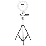 26cm LED Ring Light para Youtube Transmissão ao vivo Tiktok Broadcast 10 Brightness Dimmable 2800-6500K Maquiagem Fill Light with Tripod Stand Clipe de telefone duplo