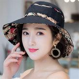 Chapeau de seau de parasol pliable de coton d'été de femmes