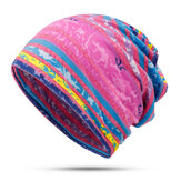 Women Cotton Earmuffs Rainbow Stripe Beanie Hat Scarf