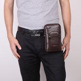 Hombre Piel Genuina Piel de vacuno 6-7 Inch Teléfono Bolsa Bandolera multiusos Bolsa Cintura Bolsa Con lazo Cinturón