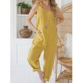 Women Solid Color String Double Pocket Loose Jumpsuits