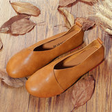 Grande Taille Couleur Unie Slip On Vintage Occasionnels Chaussures Plates Loafers