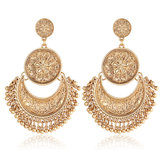 Vintage Ethnic Tassel Flower Moon Drop Dangle Women Earrings