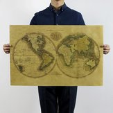 Vintage Style Retro Kraft Paper Poster Home Decorations Old World Map