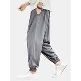 Herre ensfarvet snor elastisk ankel afslappet bukser med lomme