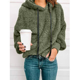 Women Fleece Casual Solid Color Hooded Sweatshirt
