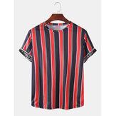Erkek Activewear Şerit Mektup Baskı Kısa Kollu Spor T-Shirt