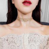 Fashion Choker Halskette Grenadine Mental Paillette
