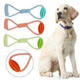 ألعاب الحيوانات الأليفة شد متعة مزدوجة حلقة الكلب لعبة حبل المطاط الكرة لدغة مضغ الأسنان تنظيف جرو الإمدادات