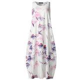 Цветочный принт Винтаж Китайский стиль без рукавов Свободные повседневные платья макси Платье