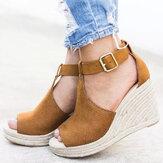 Kadın Espadrilles Peep Toe Toka Rahat Günlük Takozlar Sandaletler