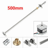 500mm T8 Lead Screw Rod with Stepper Motor and Mounted Ball Bearing Set