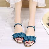 Women Solid Color Double Band Lace Band Flats Sandals