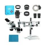 3,5X 7X 45X 90X Doppelausleger-Standzoom Simul Focal Trinocular Stereo Microscope + 21MP Kameramikroskop Für die industrielle Leiterplattenreparatur