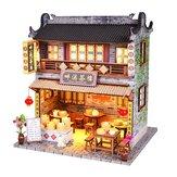 DIY木製ドールハウス家具付きLEDライトキットミニチュア中国茶屋建築モデルパズル玩具祭ギフト