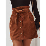 Women Corduroy A-Line Single Button Wide Belt High Waist Paperbag Skirts