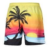 S52513 Pantaloncini da spiaggia Pantaloncini da surf 3D Coconut Tree Sunset Printing Elasticità a rapida asciugatura