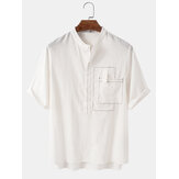 Mens 100% Cotton Solid Short Sleeve Henley Shirts