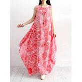 المرأة القطن فضفاضة الأزهار طباعة اللباس الرقبة جولة أكمام