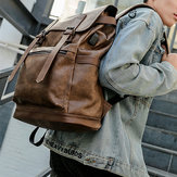 Men USB Charging Travel Backpack Business Solid PU Leather Computer Bag