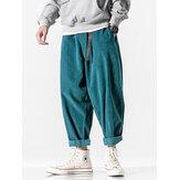 Mens Side Pocket Elastic Waist Loose Cargo Pants