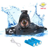XANES XHP50 800LM LED Headlamp USB Reachargable Zoom Torch Lamp Fishing Cycling Flashlight 18650 Battery