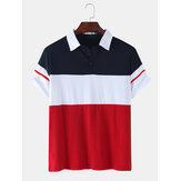 Herre Color Block Patchwork Casual kortærmet golf shirt