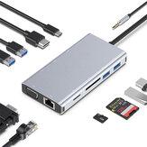 Hub danych USB-C 11 w 1 Type-C Stacja dokująca 4K@30Hz Zgodny z HDMI VGA Gigabit Port sieciowy Gniazdo 3,5 mm USB3.0 USB2.0 Czytnik kart SD/TF 87W Type-C Adapter do ładowania PD