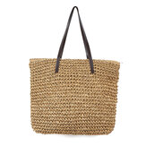 Outdoor Portable Straw Weave Handbag Tote Beach Bag Pack Pouch Shoulder Bag