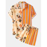 Banggood Diseño Mens Floral Print Patchwork Stripe Top Drawstring Casual Sets