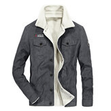 Mens Winter Fleece Warm Thick Corduroy Jacket