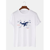 Cotton Designer Cartoon Shark & Astronaut Print Lässige Kurzarm-T-Shirts