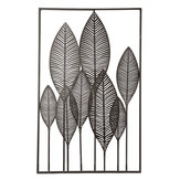 Rectangle Metal Wall Art Hanging Iron Sculpture Leaf Home Hotel Decor 53x84.5cm