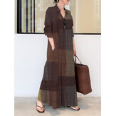 Women Casual Plaid Lapel Long Sleeve Button Vintage Shirt Maxi Dresses With Pocket