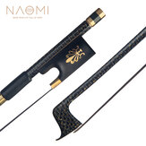 NAOMI Professional 4/4 Violin Bow Golden Silk Braided Carbon Fiber Bow Round Stick Ebony Frog Natural Horsehair