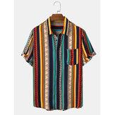 Mens Vintage Striped Print Ethnic Style Short Sleeve Holiday Shirt